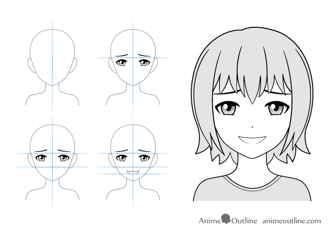 Gloating anime girl drawing example