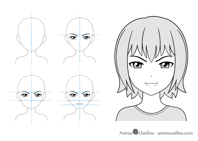 Grinning anime girl drawing example