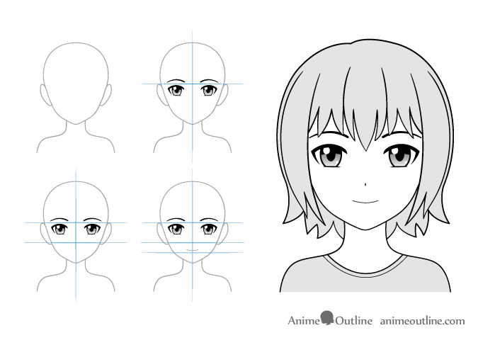 Light smile anime girl drawing example