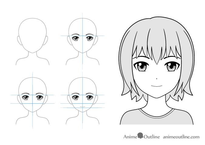 Light smile anime girl drawing example