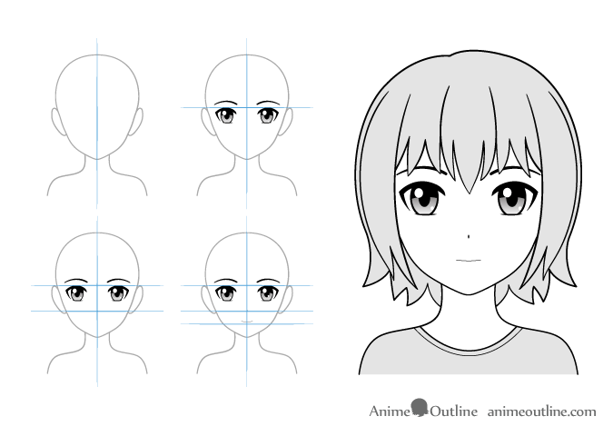 Normal expression anime girl drawing example