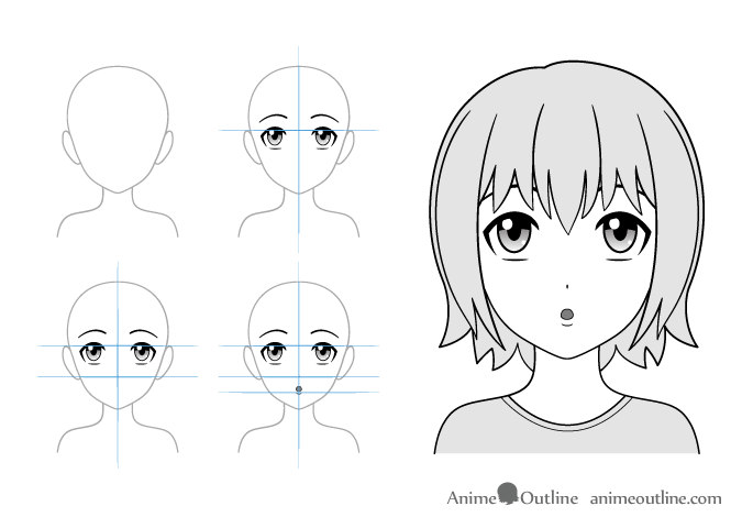 Puzzled anime girl drawing example
