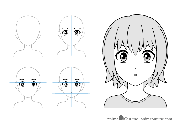 Surprised anime girl drawing example