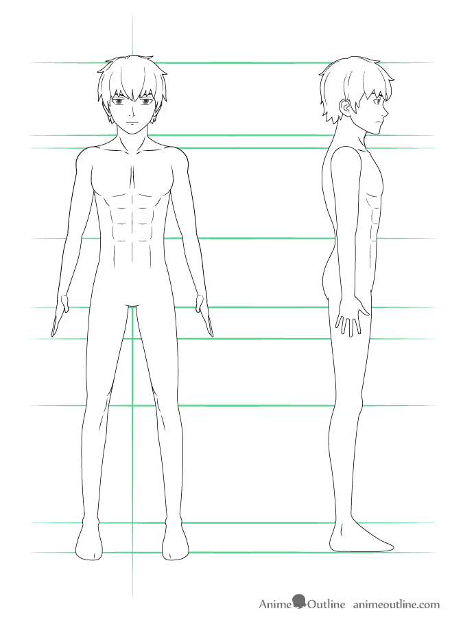 Drawing anime guy body details