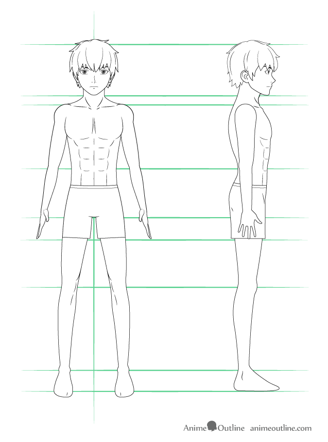 Step 4 Draw The Clothing Drawing Anime Guy Shorts