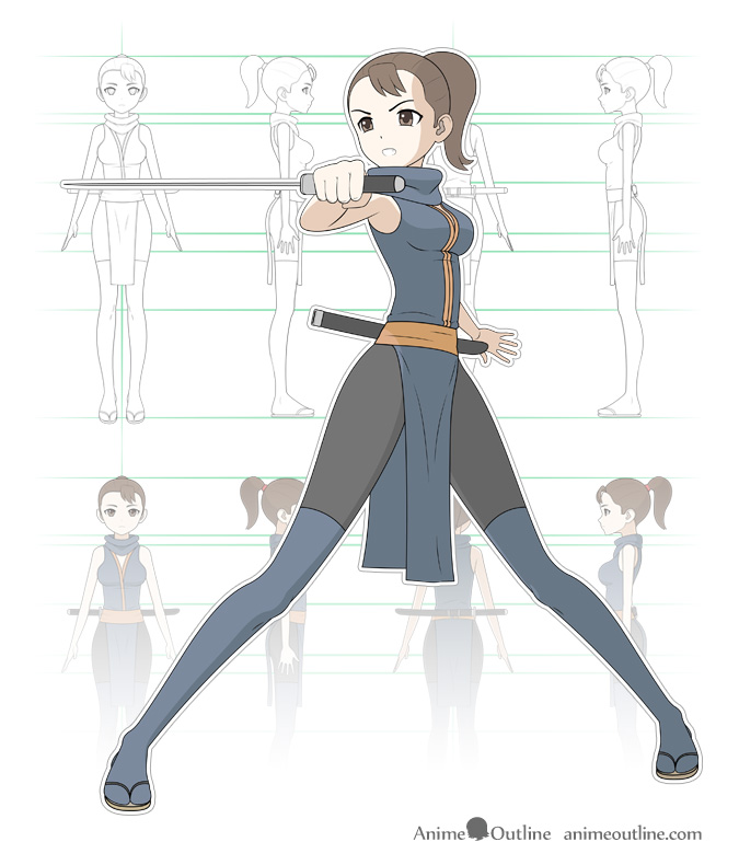 Manga anime style ninja girl design