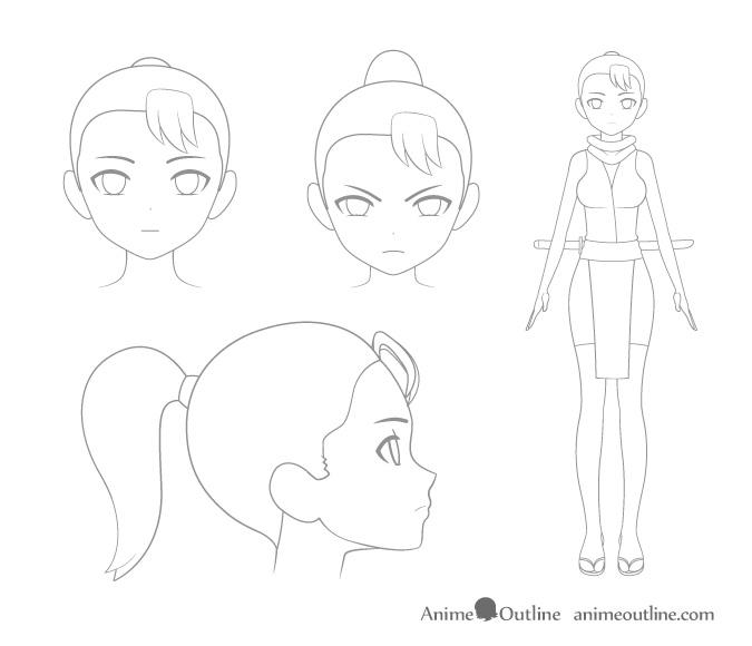 Manga or anime character sketching
