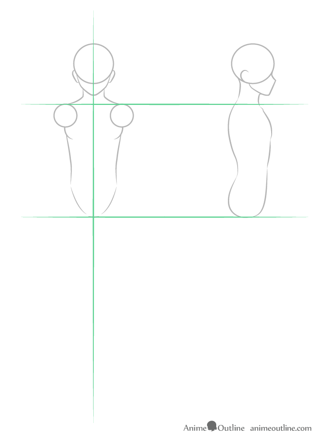 Drawing anime guy body structure