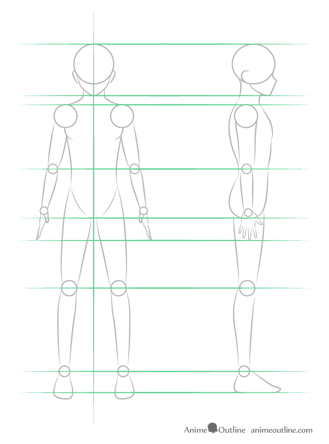 Drawing anime guy entire body structure