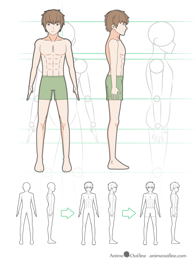 How to Draw Anime Male Body Step By Step Tutorial - AnimeOutline