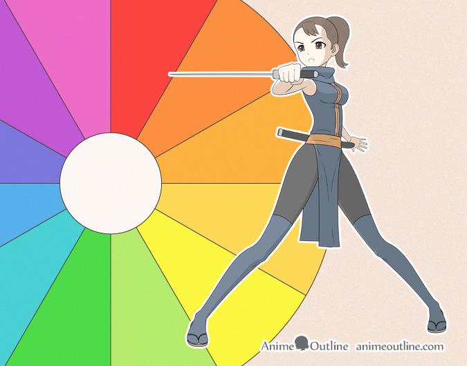 Anime or manga ninja girl and colour wheel