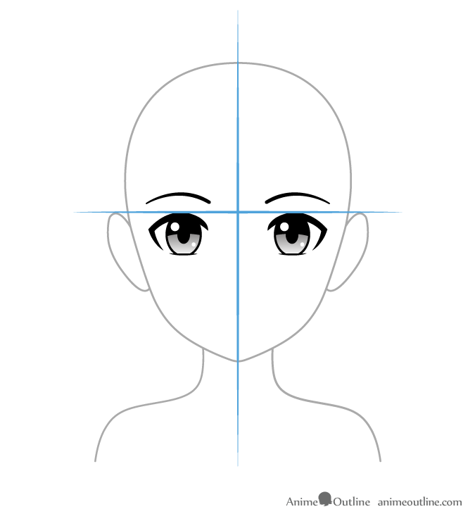 Positioning anime eyes on head