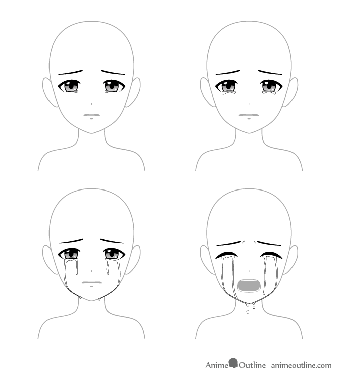 4 ways to draw crying anime eyes