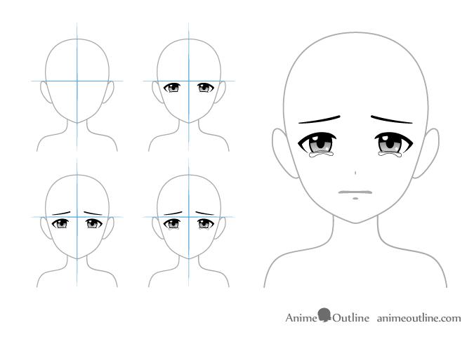Anime eyes with tears