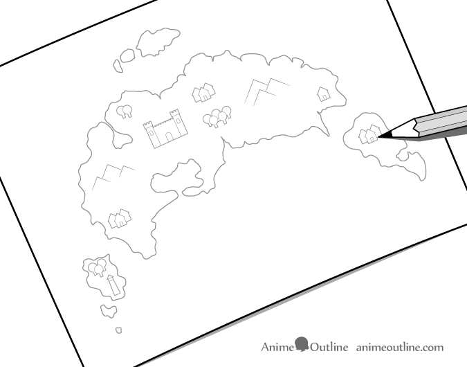 Fantasy map drawing