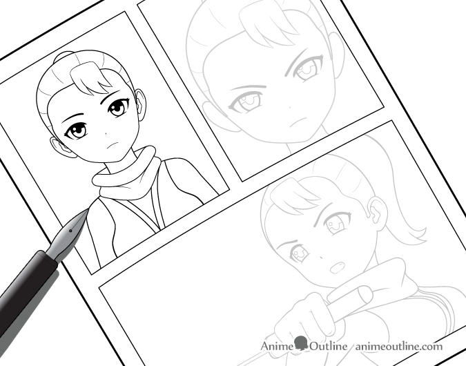 Inking manga drawing