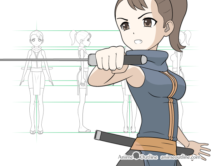Manga ninja girl drawing & character design