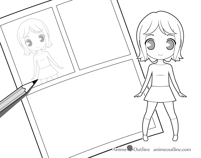 Sketching manga with chibi characters