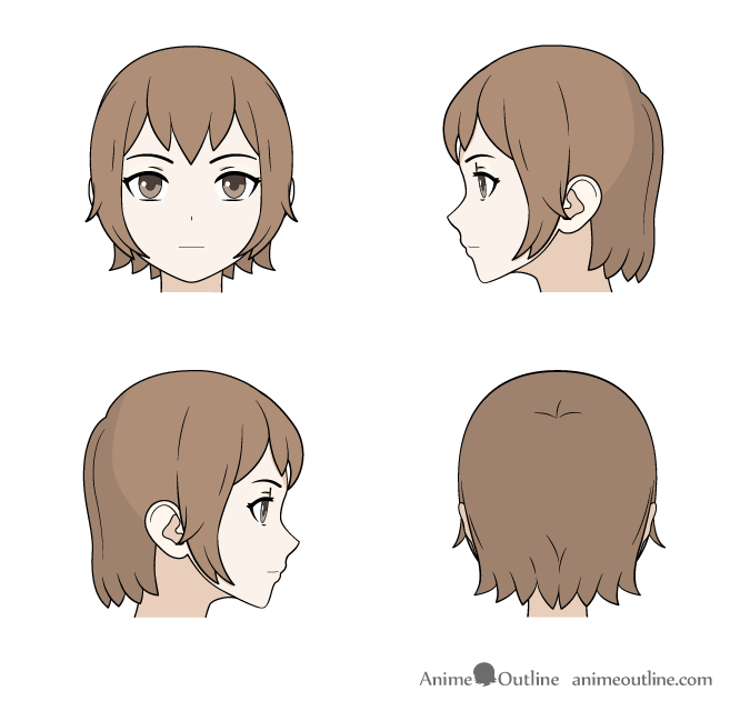 Drawing medium length anime hair front, back and side views
