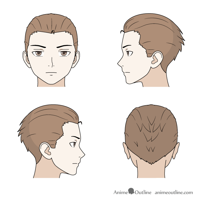 Drawing combed back anime hair front, back and side views