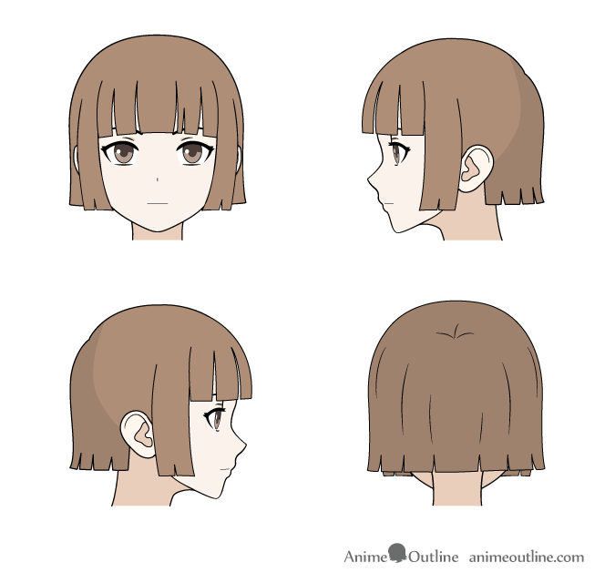 Drawing cut/trimmed anime hair front, back and side views
