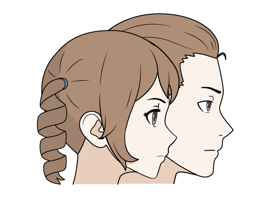 Anime maile and female hair