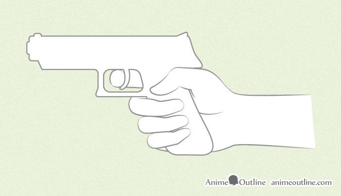 Anime hand holding gun sketch