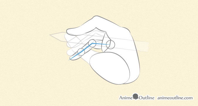 Anime hand holding pen or pencil pinky finger proportions