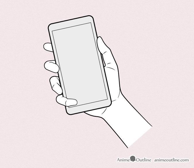 Anime hand holding phone