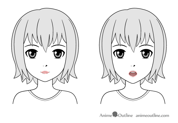 how to draw lips anime