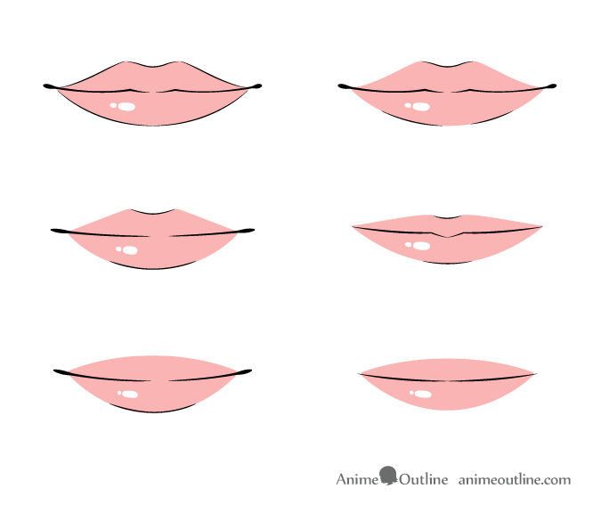 Anime lips front view in color