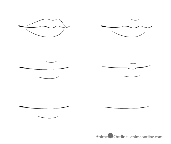Anime lips 3/4 view