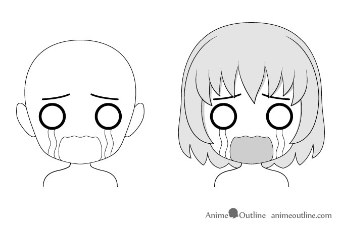 Anime chibi crying facial expression drawing