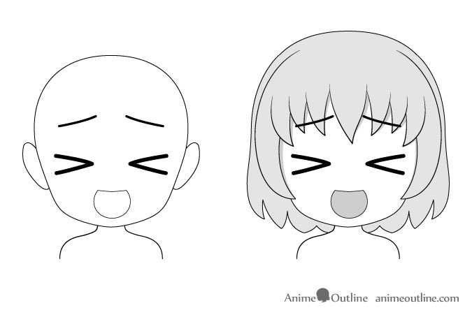 Anime chibi daydreaming facial expression drawing