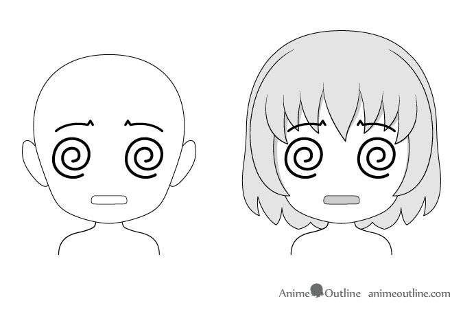 Anime chibi dazed or confused facial expression drawing