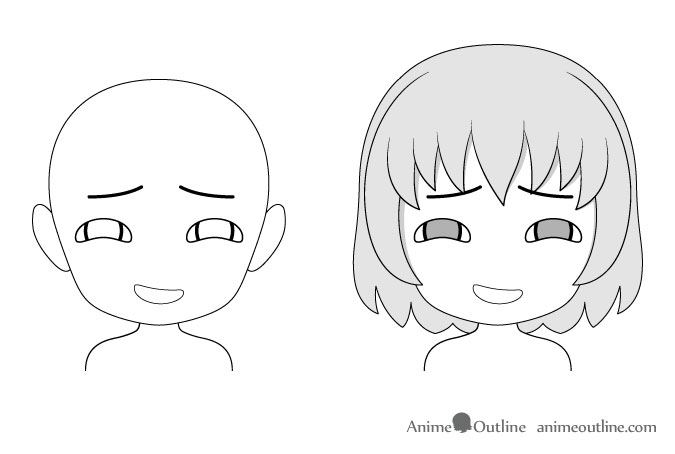 Anime chibi gloating facial expression drawing