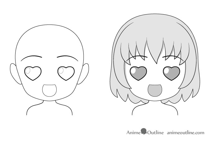 Anime chibi love facial expression drawing