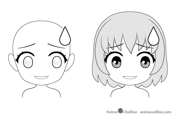 Anime chibi nervous facial expression drawing