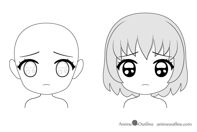 Anime chibi puppy eyes facial expression drawing