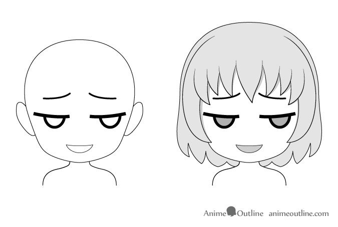Anime chibi sly facial expression drawing