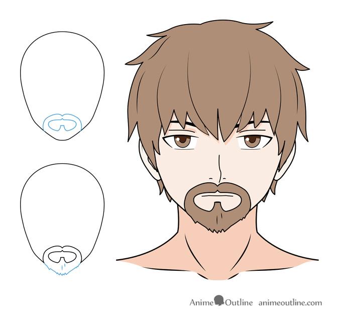 Anime beard and mustache drawing