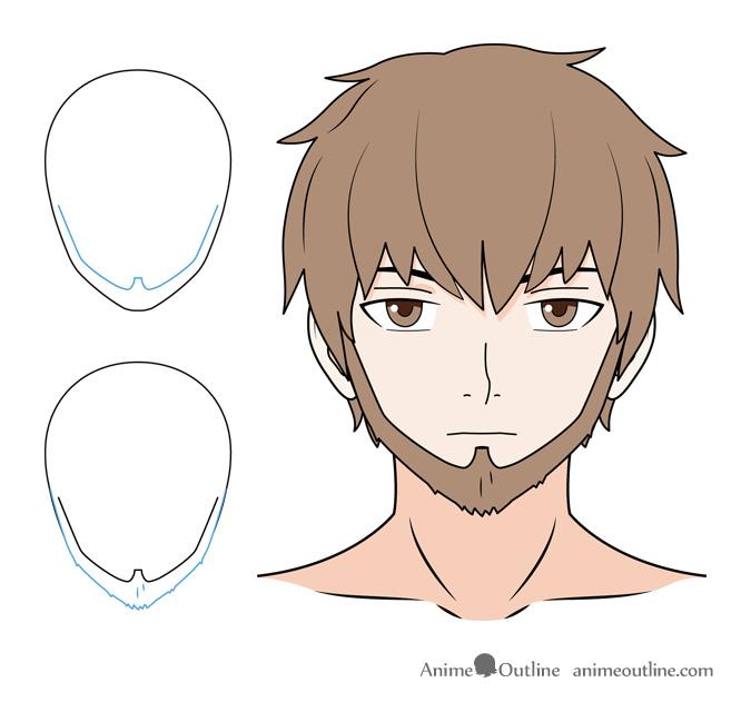 Anime beard with sideburns drawing