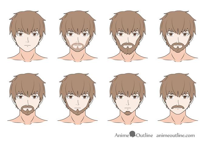 Anime facial hair drawing examples