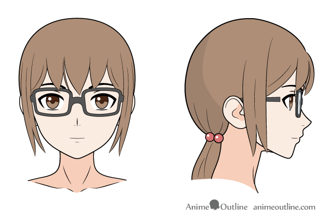 Anime glasses girl front & side views