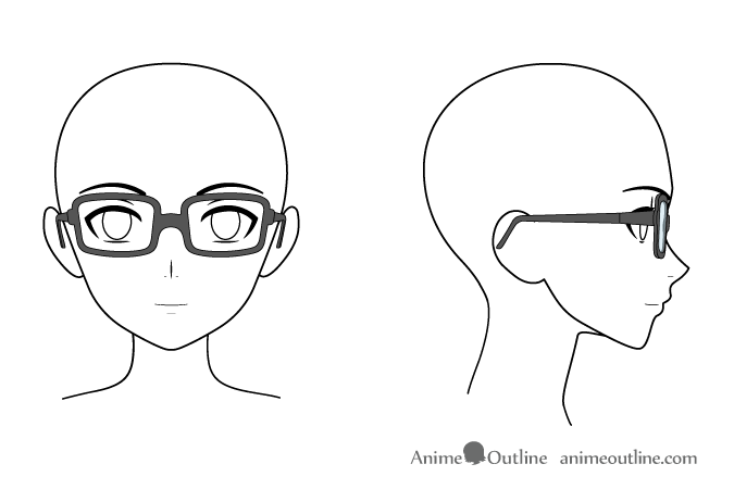 Anime glasses on head front side views