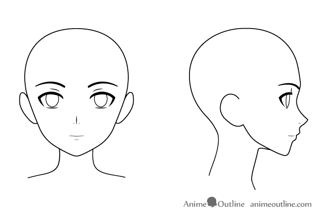 Anime female head face front side views