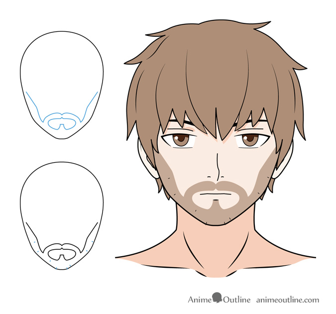 Anime scruff facial hair drawing