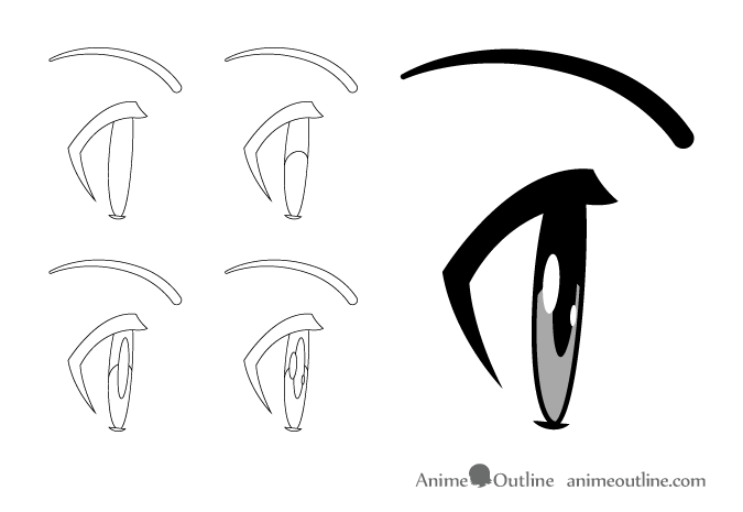 how to draw anime   manga eyes side view animeoutline Cartoon Eyes Clip Art Eyelash Clip Art