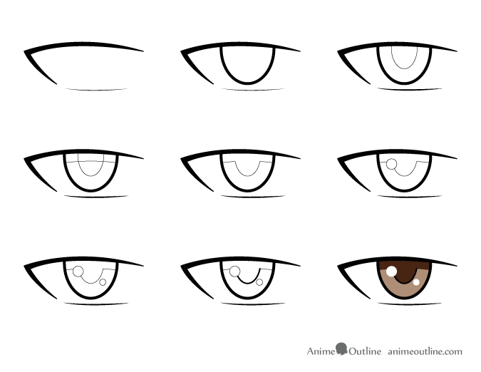 9 step drawing of an anime male eye