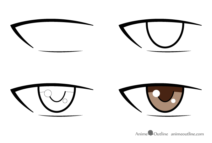 4 step drawing of an anime male eye